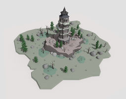 3D asset low poly cartoon fantasy tower scene