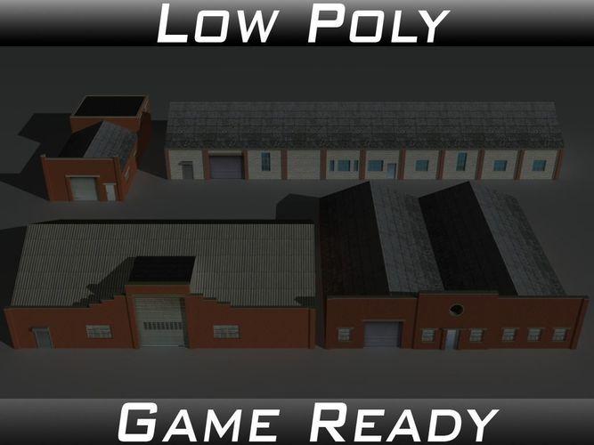 factory building set 8 3d model low-poly obj 3ds fbx mtl 1