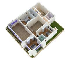 Axonometric View small villa 3D asset