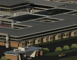 3D asset animated Hospital Building