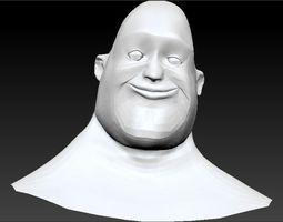 Male Cartoon Head and Bust 3D Model
