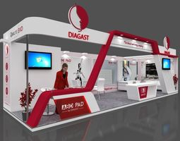 Exhibition stall 3d model 10x3 mtr 2 sides open Diagast