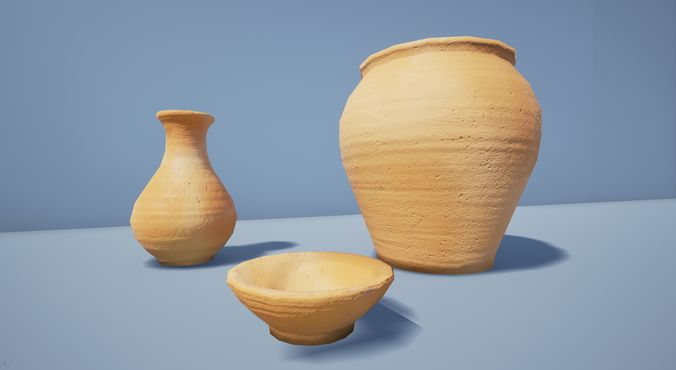 rustic terracotta pottery  3d model obj mtl fbx 1