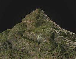 3D model Low poly rocky mountain environment asset