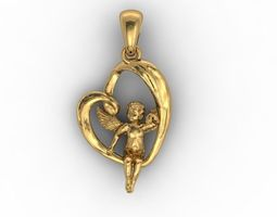 3D print model heart angel pendant