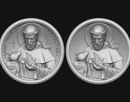3D printable model Saint Francis Medallion