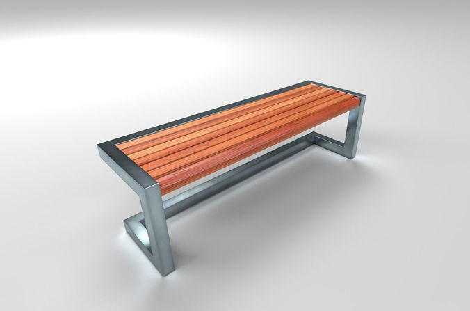 Brilliant Architectural Park Wood Stainless Steel Bench 3D Model Gmtry Best Dining Table And Chair Ideas Images Gmtryco