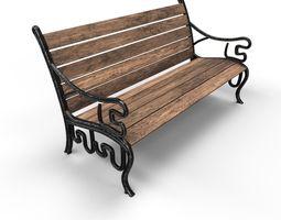 Park Bench 3D model realtime