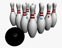 Official Bowling Ball pins 3D Model