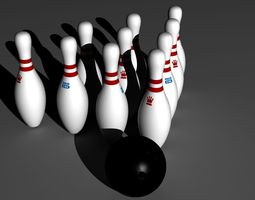 Official Bowling Ball & pins 3D Model