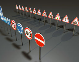 Traffic Signs 3D model animated