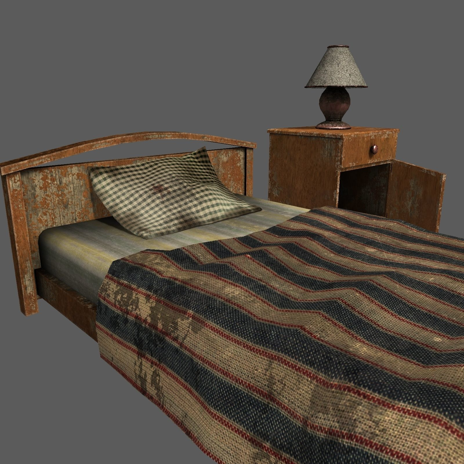 Old Bed Lamp and Bedside Table Pack