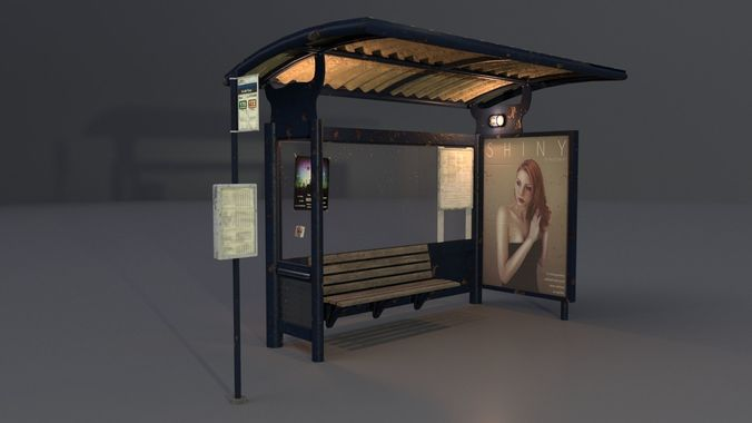 bus station with timetable pole pbr  3d model obj mtl 3ds fbx stl blend dae 1