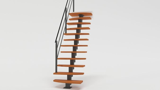 Delightful Steep Stairs 3D Model