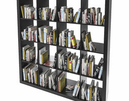 3D model Ikea Expedit shelf with books