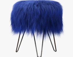3D model Blue Fake Fur Whimsical Stool