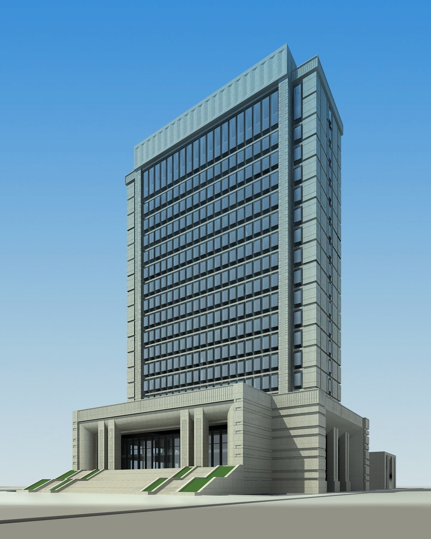 High rise office building with staircase d 3d model max for Modern high rise building design