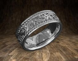 Weddgin Band With Rope Design 3D print model jewelrymodels