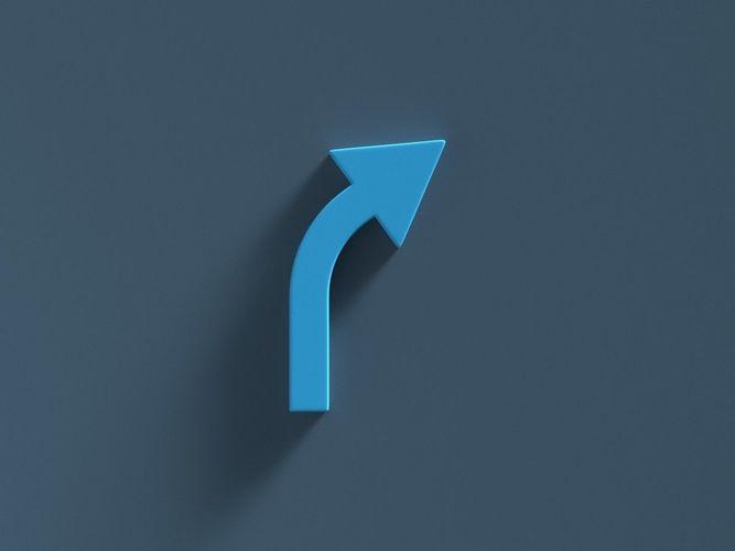 arrow standard curve right 3d model obj mtl fbx ma mb 1