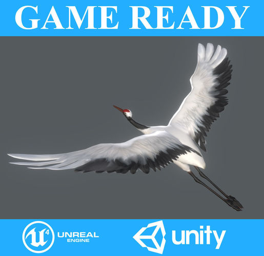 low poly crane bird animated - game ready 3d model low-poly max obj mtl fbx 1