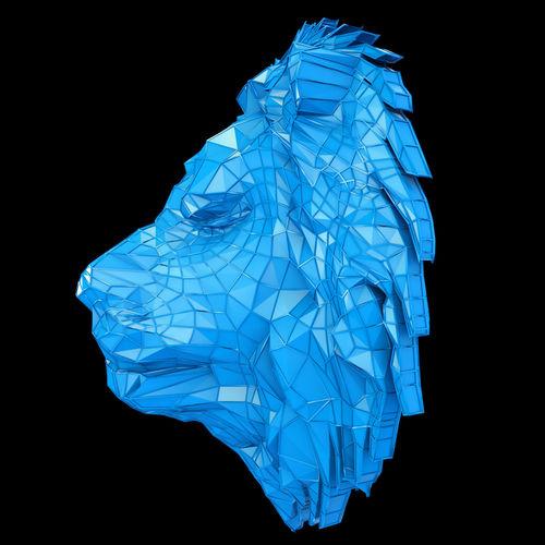 abstract poly-style lion head 3d model max obj mtl fbx mat 1
