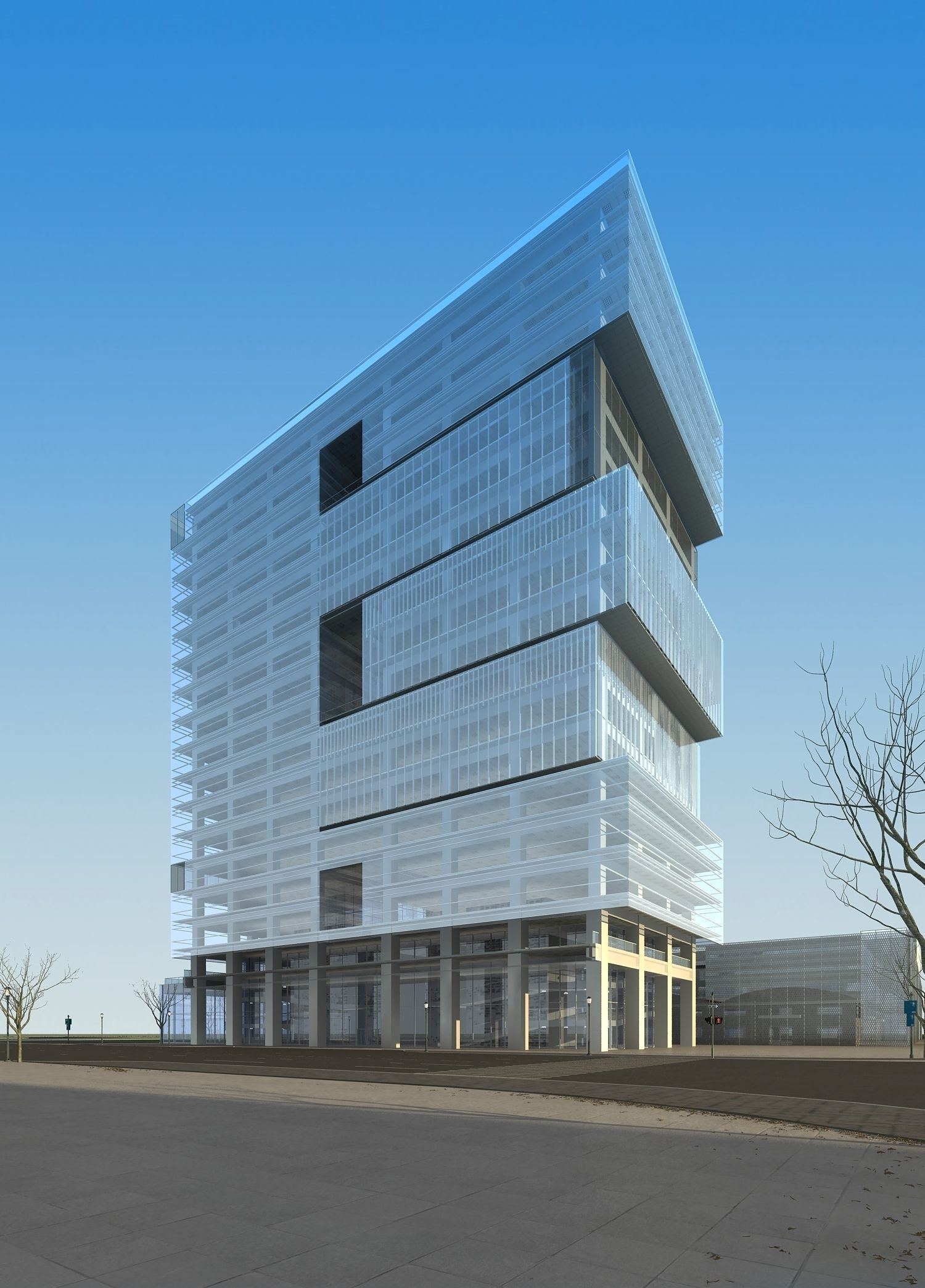 Modern commercial building design 3d model max for Modern commercial building exterior design