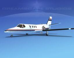 3D model rigged Cessna 500 Citation I V04