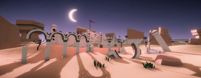 low poly desert ruins 3d model unitypackage prefab 1
