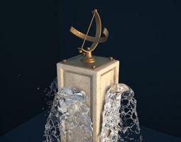 Sundial Plinth Fountain 3D