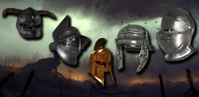 medieval helmet colection 3d model max obj mtl fbx 1
