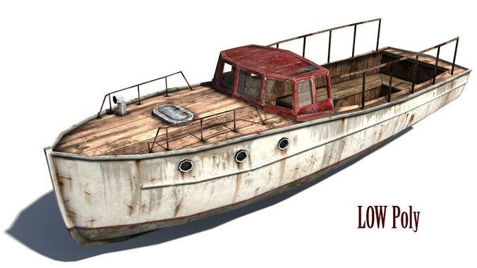 rusty boat 2 3d model low-poly max obj mtl 1