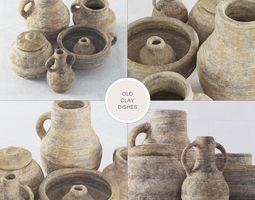 Old clay dishes n2 3D