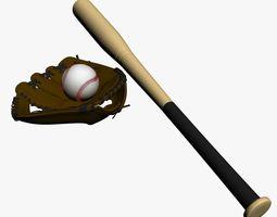 Base Ball & Bat & Glove 3D Model