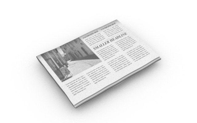 folded editable newspaper   3D model