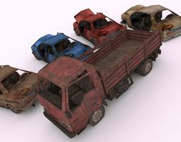 3D model game-ready Wrecked Cars