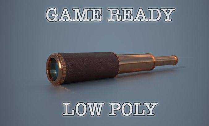 telescope low poly game ready 3d model low-poly obj mtl fbx dae 1