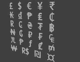 3D model Currency signs set