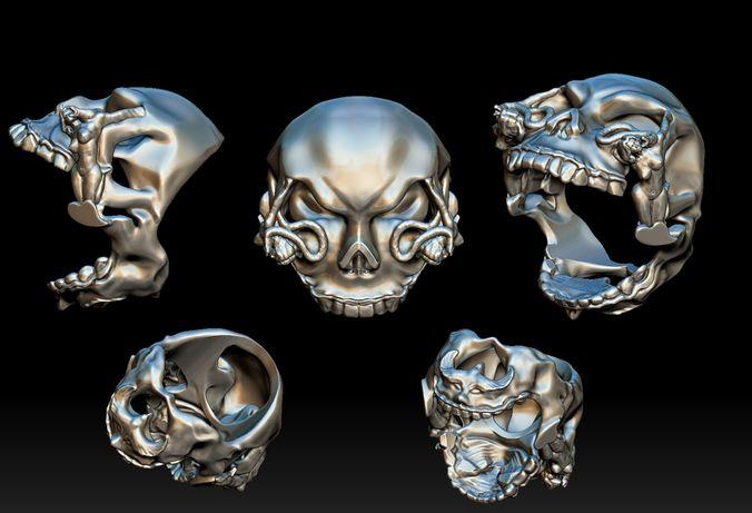 skull head ring 3d model stl 1