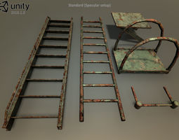 Rust ladders set 3D asset