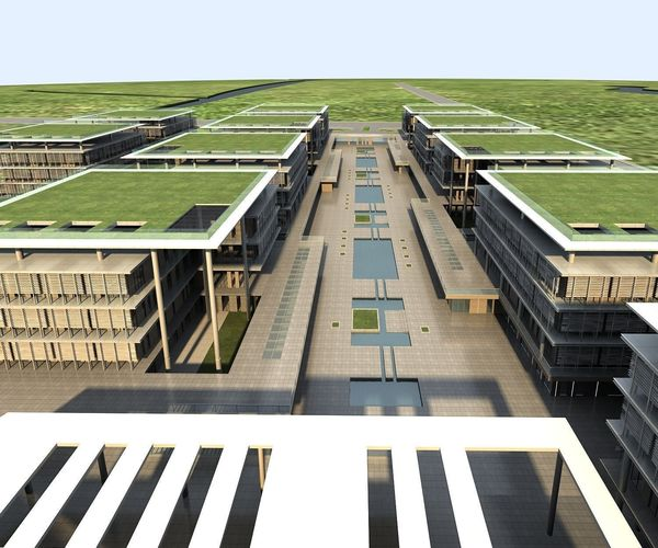 Office Building Exterior With Artistic Roof 3d Model Max