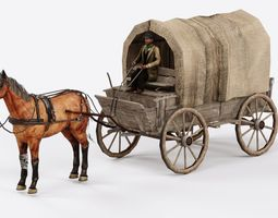 Carret with horse with horseman rigged 3D model
