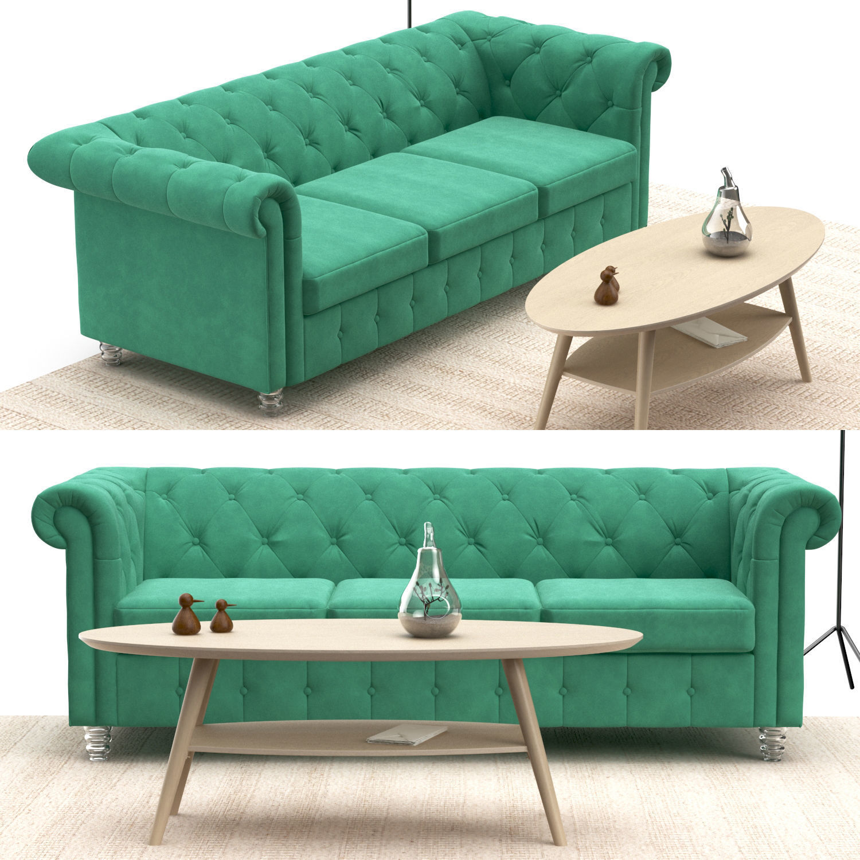 ... Chesterfield Sofa Set 3d Model Max Obj Mtl 5 ...