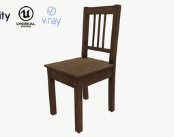 Wooden Chair Low Poly PBR Game Ready Asset 3D model