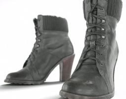 Black High Heel Boots 3D Model