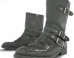 Skull Black Leather Boots 3D Model