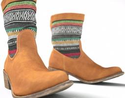 Brown Color Stripes Boot 3D Model
