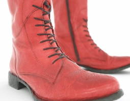 Red Laced Boots 3D Model