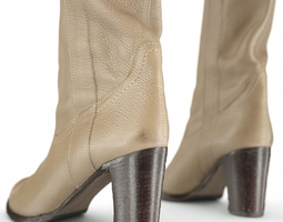 Leather Boots Beige 3D Model