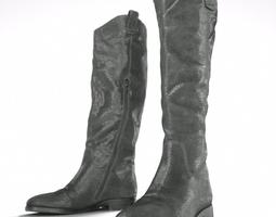 Black Snakeskin Boots 3D Model