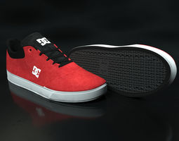 Realisitc DC Shoes Crisis - Red 3D model VR / AR ready